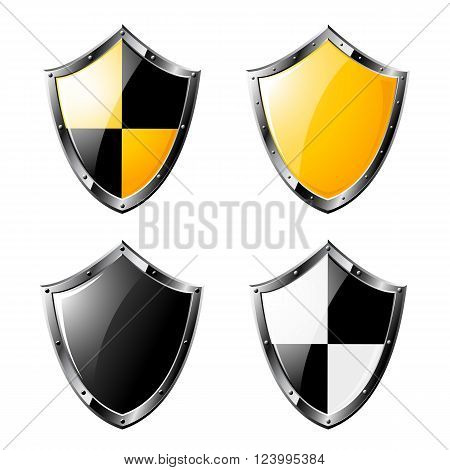 Set of colored steel triangle shields isolated on white background. Vector illustration.
