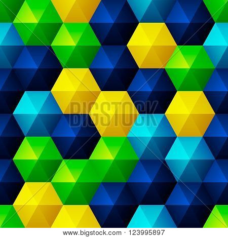 Seamless background with glossy relief bright hexagons