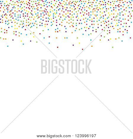Abstract background with falling confetti different colored pixels
