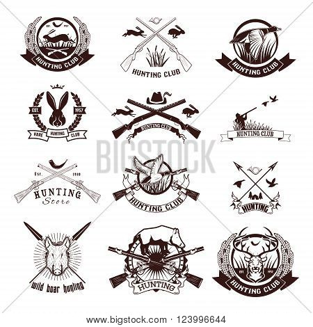 Set of hunting labels emblems and design elements. Duck hunting. Hare hunting. Deer hunting. Wild boar hunting. Vector design elements.