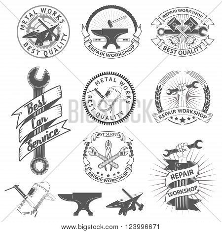 Set of repair workshop labels and emblems. Car servise icons. Metal works icons. Design elements for workshop labels badges emblems logo.