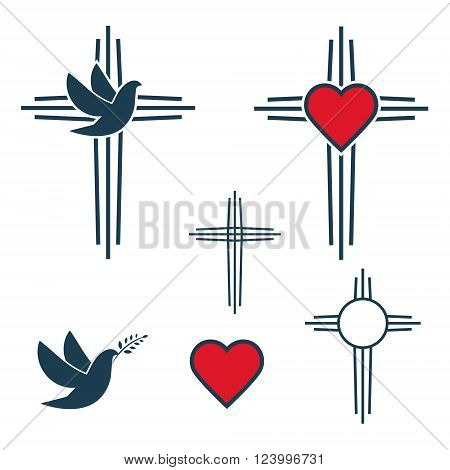 Set of the cross. Church emblem templates and design elements. Cross with heart icon. Cross and dove. Design elements in vector.