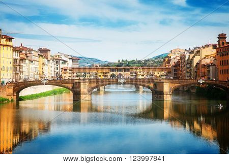 Ponte Santa Trinita bridge over the Arno River, Florence, Italy, retro toned