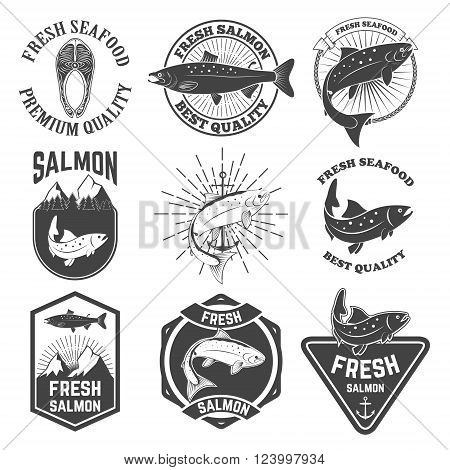 Set of the fresh salmon labels emblems and design elements.Fresh salmon icons. Salmon fishing. Vector design elements.
