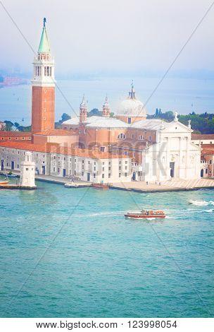 view of San Giorgio island and lagoon, Venice, Italy, retro toned