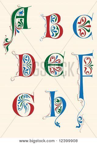 Medieval alphabet A-H