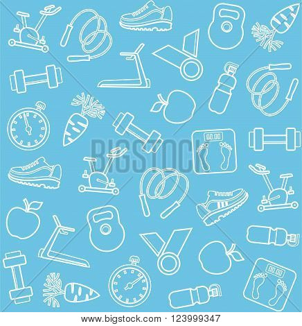 Vector seamless background with white line icons of sporting goods on a blue field.