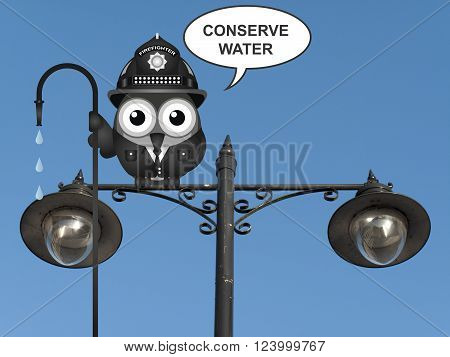 Bird fireman with conserve water message perched on a lamppost against a clear blue sky