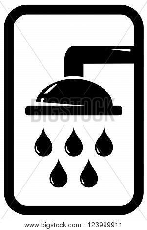black icon with shower silhouette and falling drops
