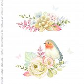 Decorative holiday ornaments of flowers ranunculus, succulent plant, bird Robin, leaves and branches poster