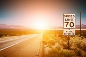 picture of mph  - Highway road to sunset - JPG