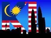 stock photo of petronas towers  - Kuala Lumpur skyline and Petronas Towers with flag text illustration JPEG - JPG