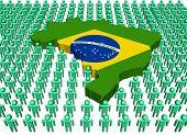 Постер, плакат: Бразилия карта флаг в окружении многих абстрактных людей иллюстрации