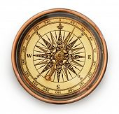 picture of longitude  - vintage compass on white background - JPG