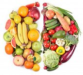 pic of semi-circle  - Fruits and vegetables in the form of two semi - JPG