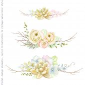 Decorative holiday horizontal ornaments of flowers ranunculus, succulents, leaves and old branches,  poster