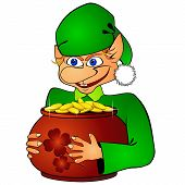 stock photo of hobgoblin  - Funny elf with a pot filled with golden coins - JPG