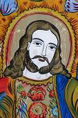 picture of the lost sheep  - antique glass icon of jesus - JPG