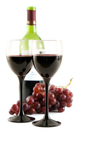 stock photo of wine grapes  - two glasses of red wine with grapes - JPG