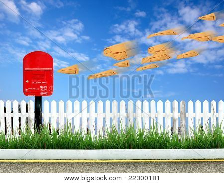 Red Postbox And Brown Envelope