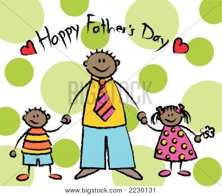 Happy Father's Day - dark skin (vector)