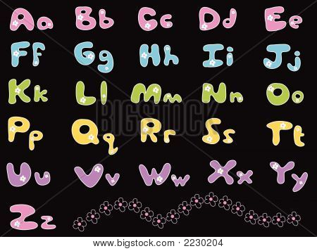 Pastel Daisy Alphabets (Vector)