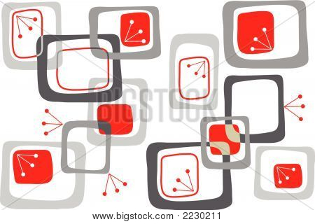 Bright Retro Cherry Red Squares (Vector)