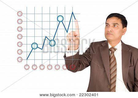 Portrait Of Mature Businessman Drawing Chart.