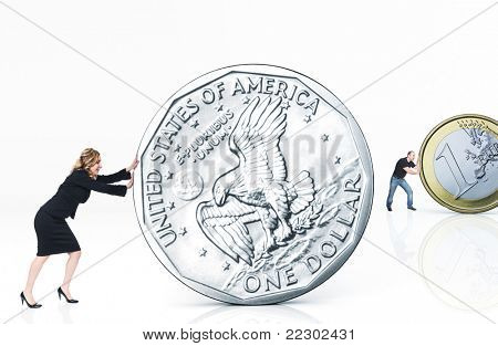 woman and man push different money coin