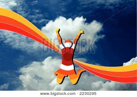 Blue Sky Red Rainbow And Girl (Vector)