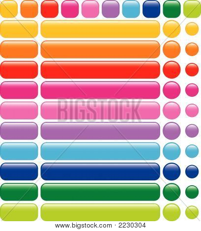 Set Of 10 Glossy Rainbow Web Blank Buttons (Vector) - Illustration