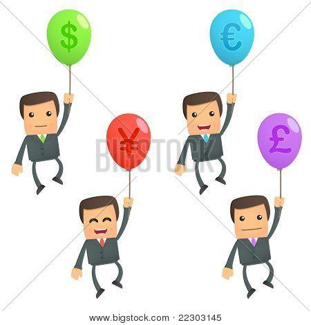 businessman flying on a balloon