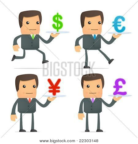 cartoon businessman carries a tray of currency