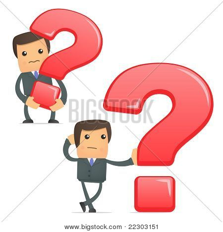 funny cartoon businessman with a question mark