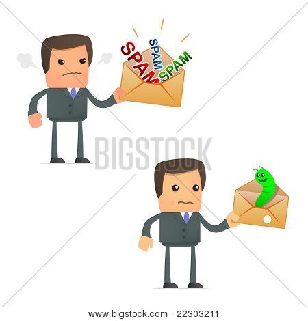 cartoon businessman angry at spam and viruses