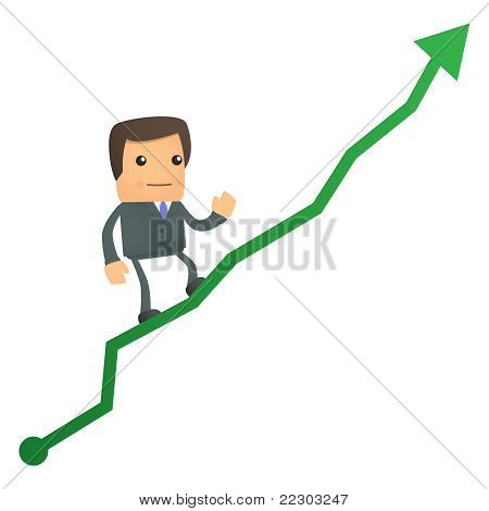 cartoon businessman climbing up at the diagram