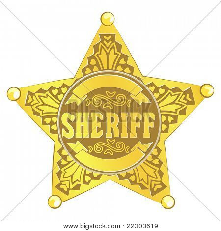 gold vector Sheriff star on white background
