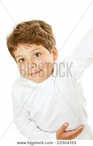 A portrait of a little boy, isolated on white