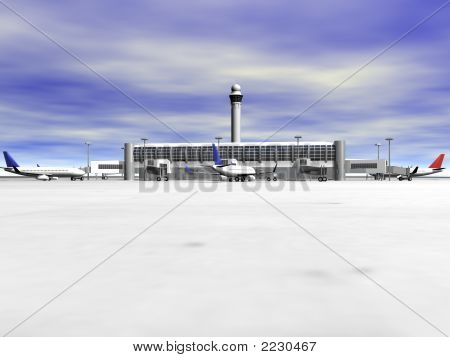 3D Airport Front View