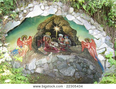 Icon in grotto