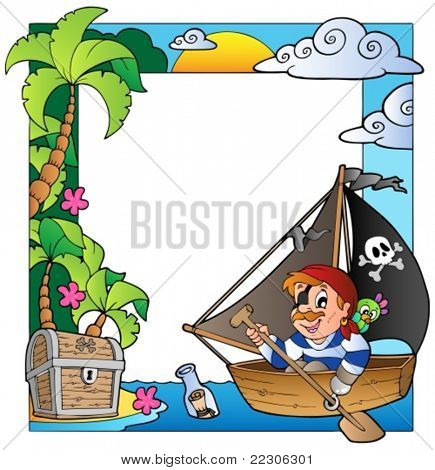 Frame with sea and pirate theme 5 - vector illustration.