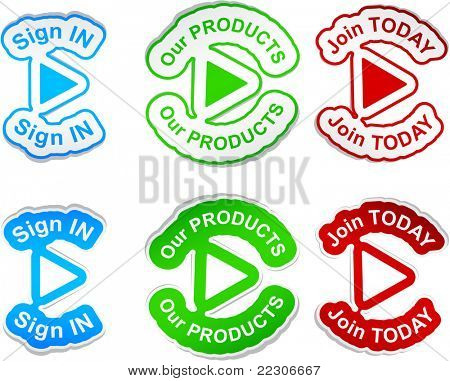 """Sign in"", ""our products"", ""join today""  vector stickers."