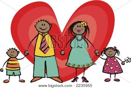 Happy Family In Dark Skin Tone (Vector)