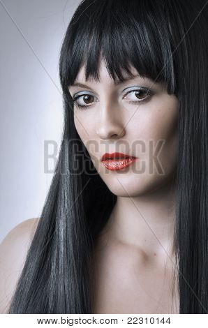 Fashion Portrait Of Cute Brunette Woman