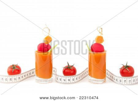 Fresh Juice And Tape Measure Background