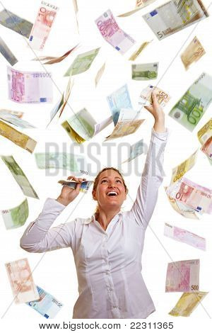 Happy Business Woman Reaching For Money