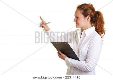 Controller Woman Checking List On Clipboard