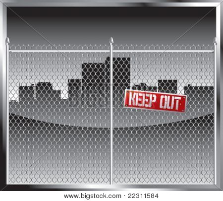 City skyline silhouette blocked by chain link fence with keep out sign