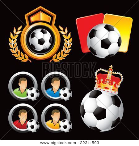 Soccer balls, penalty cards, and players