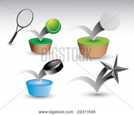 Bouncing tennis ball and racket, golf ball, hockey puck, and silver star